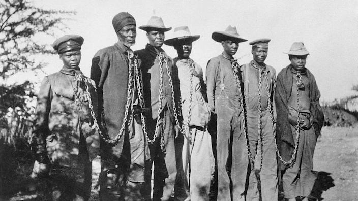 Herero rebellion, captives in chains seen in 1904/5 archive image