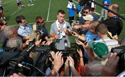 Johnny Football, in a rare non-party pic. (AP Photo/Aaron Josefczyk)