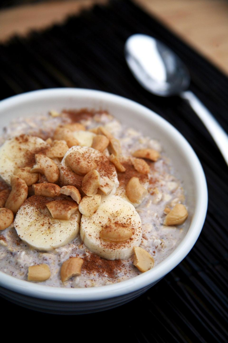 "<p>Skip the maple syrup, brown sugar, or honey and add <a href=""https://www.popsugar.com/fitness/Banana-Cashew-Overnight-Oats-40463726"" class=""link rapid-noclick-resp"" rel=""nofollow noopener"" target=""_blank"" data-ylk=""slk:mashed banana to your oatmeal"">mashed banana to your oatmeal</a> to add natural sweetness plus a little extra potassium. </p>"