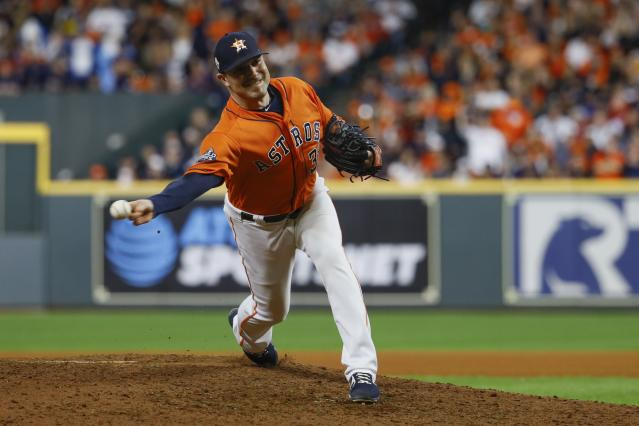 Specialist Joe Smith was very good for the Astros in the postseason. (AP Photo/Matt Slocum)