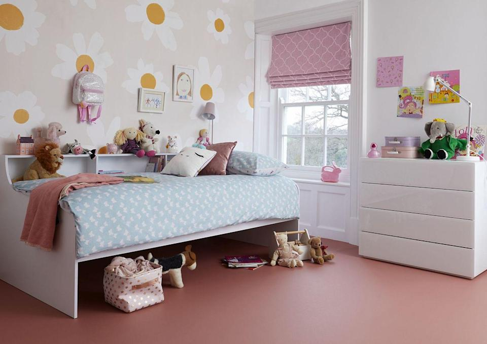 """<p>Sometimes a fluffy high pile carpet isn't always the most practical option with little kids. For a girls' bedroom idea, have a look at vinyl instead – it's warm underfoot, feels cushioned and it's super practical; for starters it can deal with spills and felt tips that have gone astray. You can hoover or sweep it too and it gives a firm surface to play on. Colour choices are usually pretty large and often there are patterns to choose from.</p><p>Pictured: True Colours UNI Vinyl in 512, <a href=""""https://www.carpetright.co.uk/vinyl/true-colours-uni-518-vinyl/"""" rel=""""nofollow noopener"""" target=""""_blank"""" data-ylk=""""slk:Carpetright"""" class=""""link rapid-noclick-resp"""">Carpetright</a></p>"""