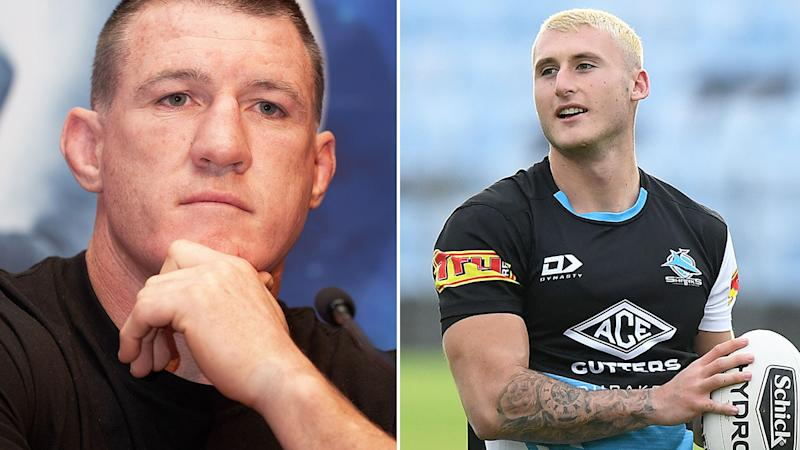 Seen here, Sharks legend Paul Gallen and youngster Bronson Xerri.