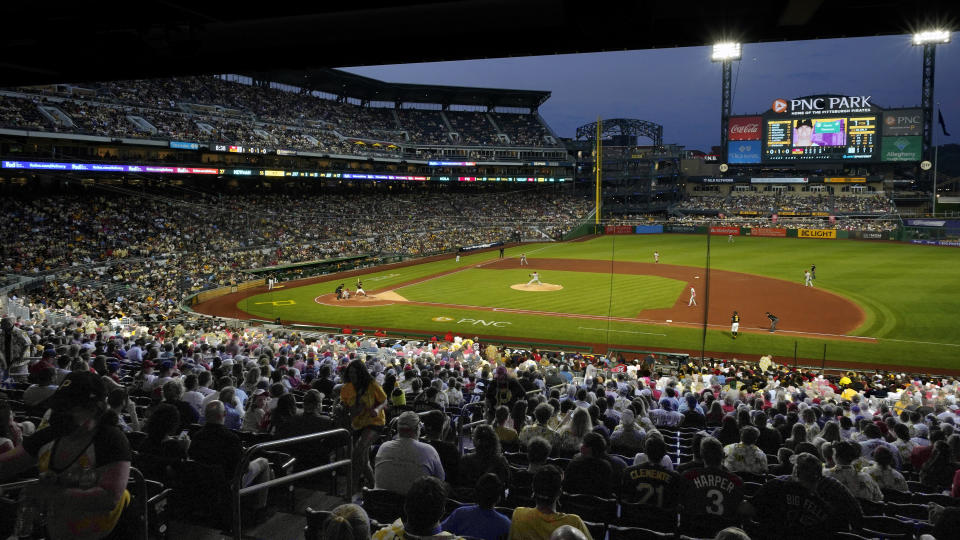 Fans watch a baseball game between the Pittsburgh Pirates and the Philadelphia Phillies in Pittsburgh, Saturday, July 31, 2021. (AP Photo/Gene J. Puskar)