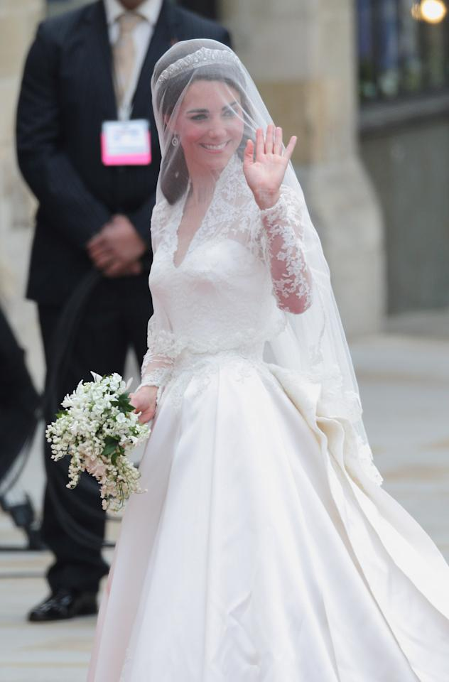 """<div class=""""caption-credit""""> Photo by: Mike Marsland/Getty Images</div><div class=""""caption-title""""></div>On her first day as royalty, Kate nailed it. Dressed in the Alexander McQueen <a rel=""""nofollow"""" href=""""http://yhoo.it/IMUZRl"""" target=""""_blank"""">lace gown</a> she managed to keep a secret until April 29th, Kate <a rel=""""nofollow"""" href=""""http://yhoo.it/Jy9ko9"""" target=""""_blank"""">had the world</a> at hello when she stepped onto the church steps. Any doubts as to whether she could hold her own as a model princess, were swiftly brushed aside."""