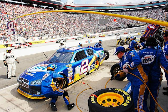 BRISTOL, TN - MARCH 18: Brad Keselowski, driver of the #2 Miller Lite Dodge, pits during the NASCAR Sprint Cup Series Food City 500 at Bristol Motor Speedway on March 18, 2012 in Bristol, Tennessee. (Photo by Geoff Burke/Getty Images for NASCAR)