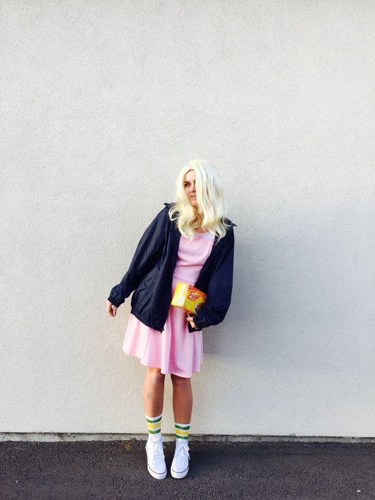 """<p>If you imagine yourself wearing an Eleven costume this Halloween, you'll be happy to know that it's an ensemble that's easy on the wallet. This costume was created with thrift store finds and cost less than $25 to put together.</p><p><strong>Get the tutorial at <a href=""""https://daysofchandler.com/2016/10/05/25-diy-eleven-costume/"""" rel=""""nofollow noopener"""" target=""""_blank"""" data-ylk=""""slk:Days of Chandler"""" class=""""link rapid-noclick-resp"""">Days of Chandler</a>. </strong></p><p><a class=""""link rapid-noclick-resp"""" href=""""https://www.amazon.com/MelodySusie-Synthetic-Replacements-Halloween-Cosplay/dp/B017NIRFHM/?tag=syn-yahoo-20&ascsubtag=%5Bartid%7C10050.g.29398849%5Bsrc%7Cyahoo-us"""" rel=""""nofollow noopener"""" target=""""_blank"""" data-ylk=""""slk:SHOP BLONDE WIGS"""">SHOP BLONDE WIGS</a></p>"""