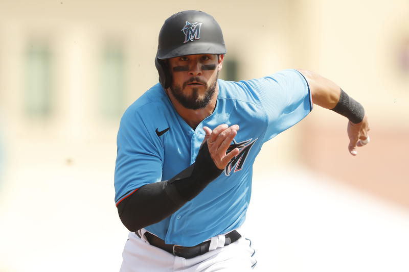 JUPITER, FLORIDA - MARCH 11: Eddy Alvarez #65 of the Miami Marlins runs against the New York Yankees during the fifth inning of a Grapefruit League spring training at Roger Dean Stadium on March 11, 2020 in Jupiter, Florida. (Photo by Michael Reaves/Getty Images)