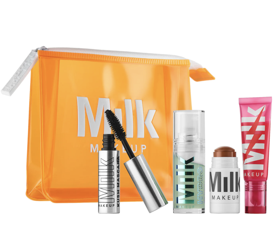 """<p><strong>MILK MAKEUP</strong></p><p>sephora.com</p><p><strong>$35.00</strong></p><p><a href=""""https://go.redirectingat.com?id=74968X1596630&url=https%3A%2F%2Fwww.sephora.com%2Fproduct%2Fmilk-makeup-glossy-glow-full-face-set-P470226&sref=https%3A%2F%2Fwww.cosmopolitan.com%2Ffood-cocktails%2Fg36163295%2Fvegan-gift-ideas%2F"""" rel=""""nofollow noopener"""" target=""""_blank"""" data-ylk=""""slk:SHOP NOW"""" class=""""link rapid-noclick-resp"""">SHOP NOW</a></p><p>This set from Milk Makeup includes a full-size electric glossy lip plumper and mini hydro grip primer, matte bronzer, and KUSH mascara that will def be a part of their daily makeup rotation.</p>"""