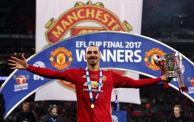 Manchester United's Zlatan Ibrahimovic with the EFL Cup