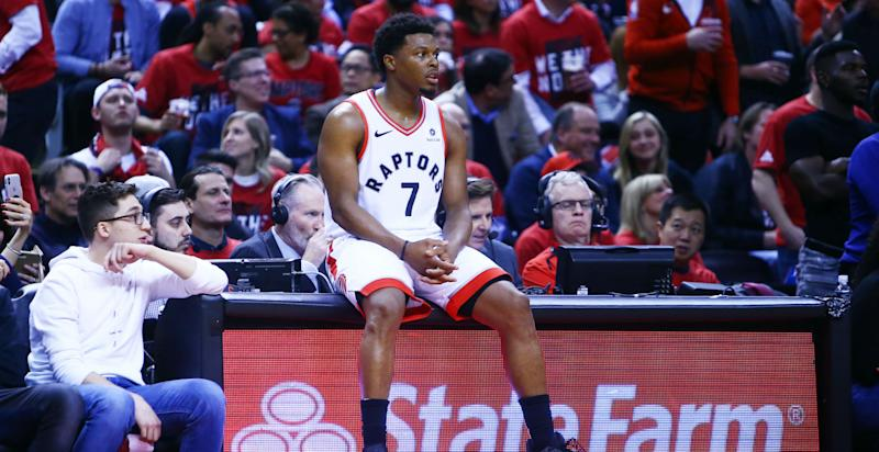 da1a653e19cd NBA playoffs 2019  Kyle Lowry hilariously checks box score after Game 2 win