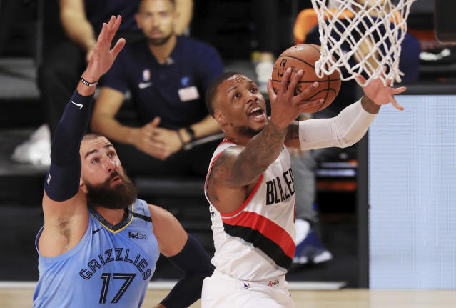 Portland picked up a critical win in the Western Conference playoff race to open bubble play. (Mike Ehrmann/Pool Photo via AP)