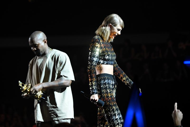 Taylor Swift and Kanye West at the 2015 MTV Video Music Awards. (Larry Busacca/MTV1415 via Getty Images)