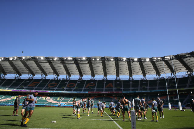 Australian players practise during a training session at Shizuoka Stadium Ecopa, Japan, Thursday, Oct. 10, 2019. Australia will play tomorrow against Georgia during their Rugby World Cup Pool D game. (AP Photo/Christophe Ena)