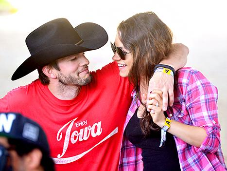 Mila Kunis Flashes Bare Baby Bump, Gets Intimate With Fiance Ashton Kutcher at Music Festival: Pictures