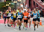 "<p>According to the rules of the Chicago Marathon, a runner must maintain an approximate <a href=""https://www.chicagomarathon.com/runners/rules-safety/event-rules/"" rel=""nofollow noopener"" target=""_blank"" data-ylk=""slk:15-minute mile"" class=""link rapid-noclick-resp"">15-minute mile</a> in order to finish the course in time. </p>"