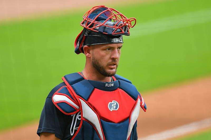 Atlanta Braves Catcher Tyler Flowers isn't with the team for opening day after showing coronavirus symptoms. (Photo by Rich von Biberstein/Icon Sportswire via Getty Images)