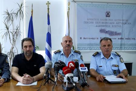 News conference of Crete's police authorities on the murder of American biologist Suzanne Eaton