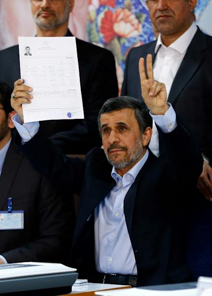 Former Iranian president Mahmoud Ahmadinejad registers on April 12, 2017, for next month's presidential elections