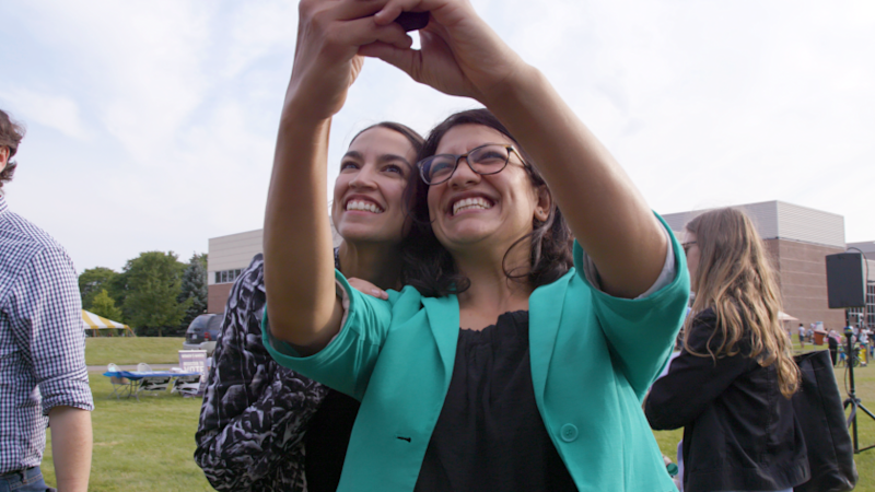 """Rep. Rashida Tlaib, right, and Rep. Alexandra Ocasio-Cortez are among the rising political stars profiled in """"And She Could Be Next."""""""
