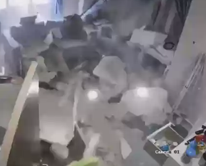 The ceiling came crashing down just moments after the baby was taken from the room. Source: Reddit/tothetentpower