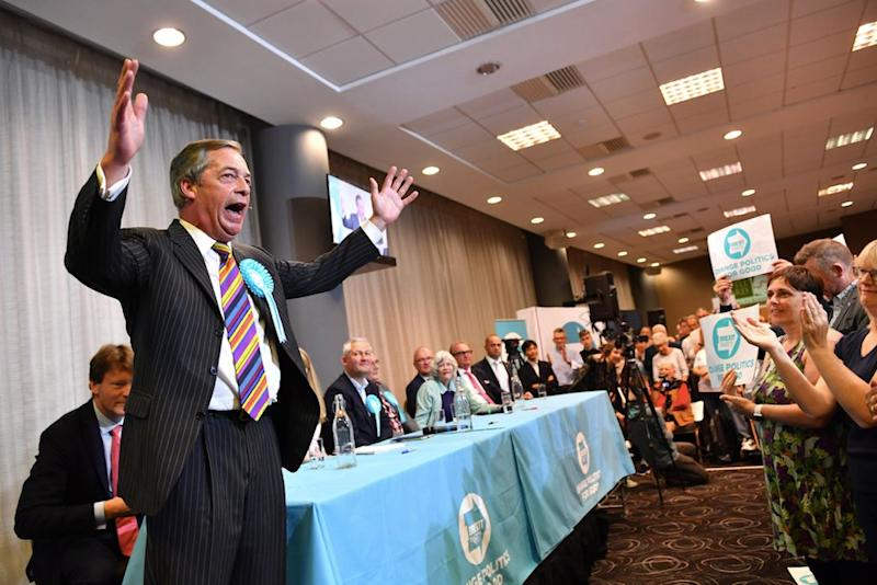 Mr Farage has seen his Brexit Party soar in the polls (Getty)