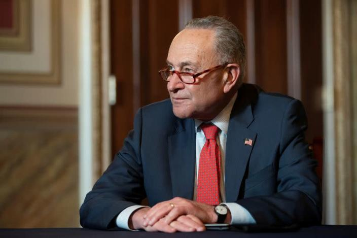 FILE PHOTO: Senate Minority Leader Schumer meets virtually with retired U.S. General Austin, nominated by Biden to be his Secretary of Defense, in Washington