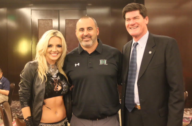 'Britney Spears' poses with Hawaii head football coach Nick Rolovich and Mountain West commissioner Craig Thompson. (Courtesy University of Hawaii)