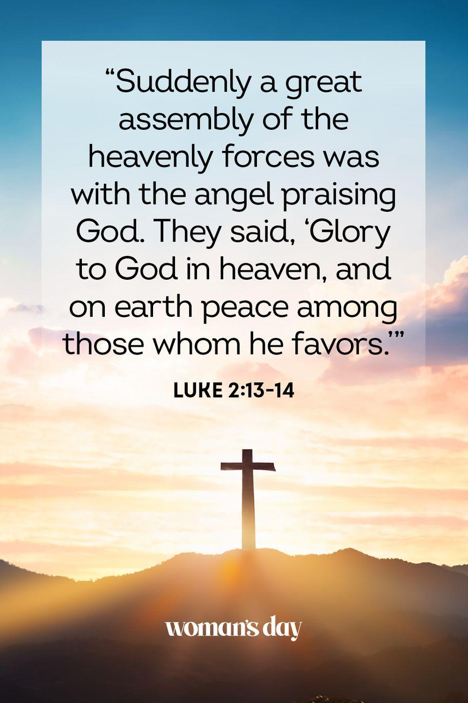 """<p>""""Suddenly a great assembly of the heavenly forces was with the angel praising God. They said, 'Glory to God in heaven, and on earth peace among those whom he favors.'"""" — Luke 2:13-14</p><p><strong>The Good News: </strong>In announcing the arrival of Jesus to the terrified shepherds in the field, the angels declared God's wish for everyone: peace on earth.</p>"""