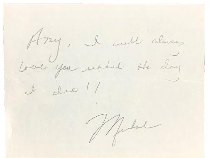 A portion of Michael Jordan's 1989 love letter to Amy Hunter.
