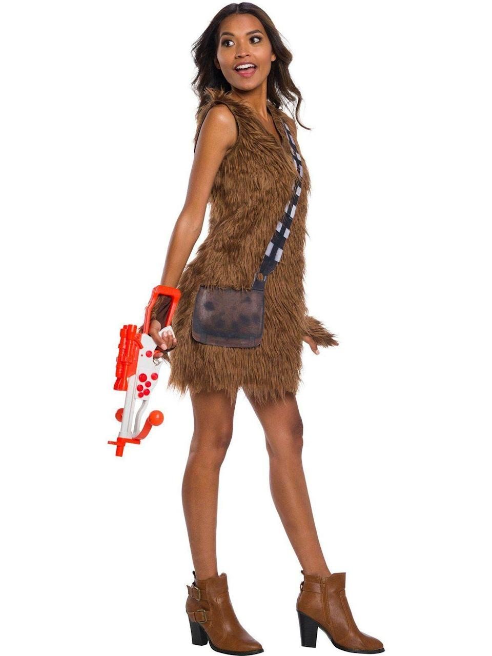 "<p><strong>Wholesale Halloween Costumes</strong></p><p>wholesalehalloweencostumes.com</p><p><strong>$44.90</strong></p><p><a href=""https://www.wholesalehalloweencostumes.com/products/star-wars-classic-chewbacca-dress"" rel=""nofollow noopener"" target=""_blank"" data-ylk=""slk:SHOP NOW"" class=""link rapid-noclick-resp"">SHOP NOW</a></p><p>Because what's sexier than dressing up as a big furry Wookiee? (Bonus points if you can find another <em><a href=""https://www.goodhousekeeping.com/holidays/halloween-ideas/g4560/star-wars-halloween-costumes/"" rel=""nofollow noopener"" target=""_blank"" data-ylk=""slk:Star Wars"" class=""link rapid-noclick-resp"">Star Wars</a> </em>fan to join you in an inflatable <a href=""https://www.amazon.com/dp/B079GJ37PR/?creativeASIN=B079GJ37PR&tag=syn-yahoo-20&ascsubtag=%5Bartid%7C10055.g.4558%5Bsrc%7Cyahoo-us"" rel=""nofollow noopener"" target=""_blank"" data-ylk=""slk:&quot;Han Solo in Carbonite&quot; suit"" class=""link rapid-noclick-resp"">""Han Solo in Carbonite"" suit</a>.) </p>"