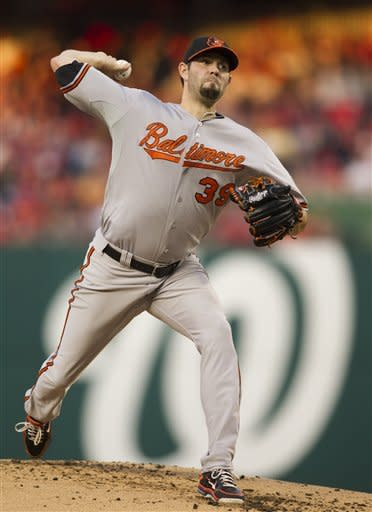 Baltimore Orioles starting pitcher Jason Hammel (39), pitches during the second inning of a baseball game against the Washington Nationals in Washington, Saturday, May 19, 2012. (AP Photo/ Manuel Balce Ceneta)