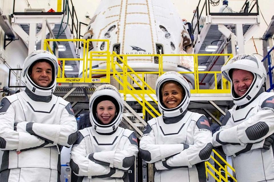 The Inspiration4 crew of Chris Sembroski, Sian Proctor, Jared Isaacman and Hayley Arceneaux (via REUTERS)