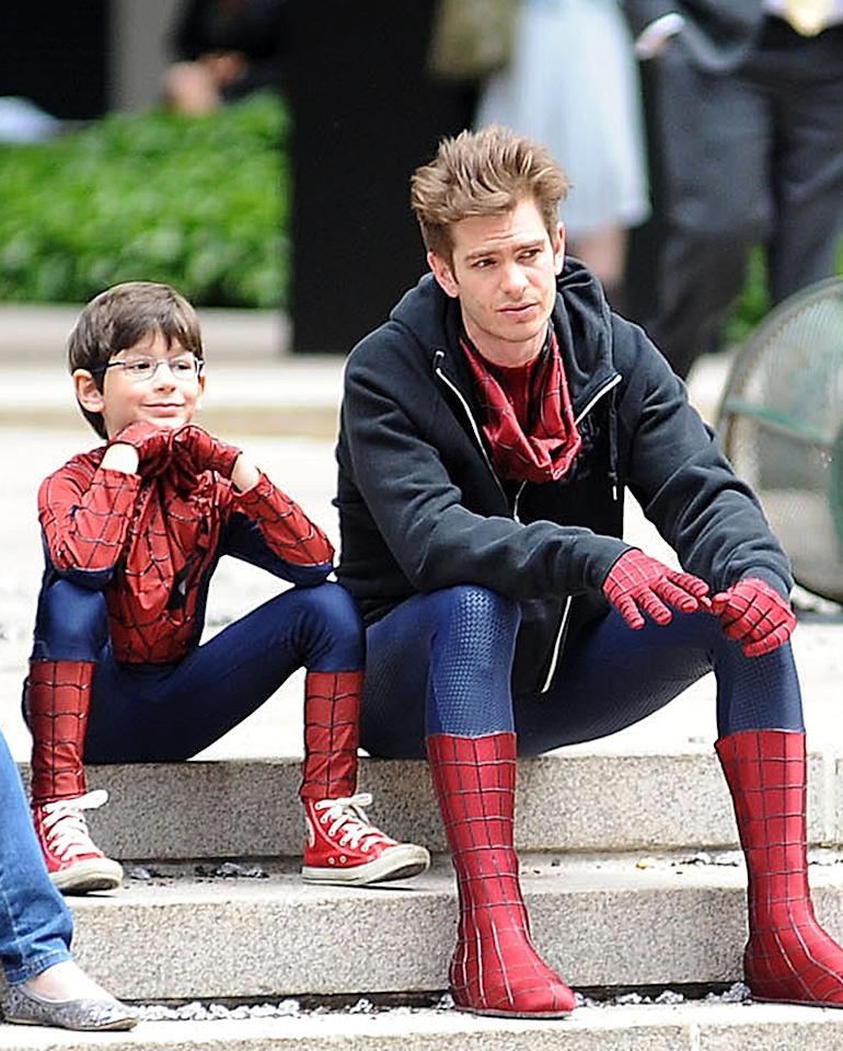 Jorge Vegas, Andrew Garfield on location for SPIDER MAN Film Shoot in Manhattan, Park Avenue, Manhattan, New York, NY May 26, 2013. Photo By: Kristin Callahan/Everett Collection
