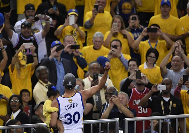 <p>Golden State Warriors guard Stephen Curry (30) celebrates after defeating the Cleveland Cavaliers in game five of the 2017 NBA Finals at Oracle Arena. Mandatory Credit: Kyle Terada-USA TODAY Sports </p>
