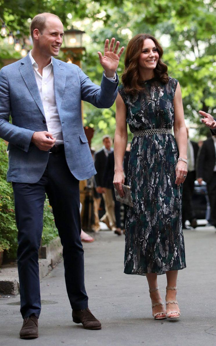 <p>Kate turned to German-born. London-based designer Markus Lupfer for a sleeveless, midi dress worn to an evening event at the Clarchens Ballhaus in Germany on day four of the royal tour.<br><i>[Photo: PA]</i> </p>
