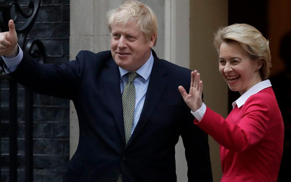 FILE - In this Wednesday, Jan. 8, 2020 file photo, Britain's Prime Minister Boris Johnson and European Commission President Ursula von der Leyen gesture towards the media outside 10 Downing Street in London. On the eve of a European Union summit which British Prime Minister Boris Johnson had set as a deadline to get a trade agreement between both sides, talks remained in a deep rut over fundamental differences regarding anything from state aid to fisheries. To push negotiators toward that slim area of possible common ground, EU Commission President Ursula von der Leyen will have a video call with Johnson later Wednesday, Oct. 14, 2020. - Matt Dunham/AP Photo