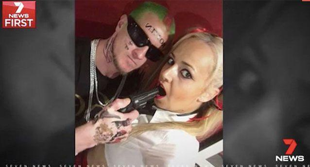 The couple dressed as the Joker and Harley Quinn, but it was the fake gun that drew the attention of police. Source: 7 News