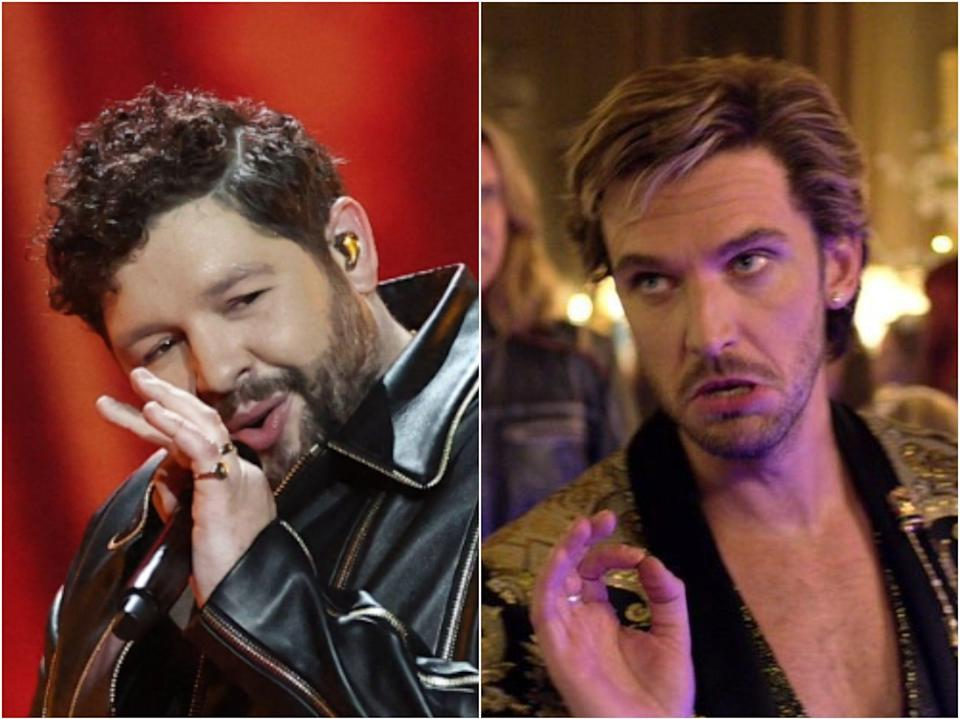 James Newman at Eurovision 2021 and Dan Stevens in 'Eurovision' (Getty/Netflix)