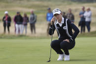 United States' Nelly Korda waits on the 4th green to putt during the second round of the Women's British Open golf championship, in Carnoustie, Scotland, Friday, Aug. 20, 2021. (AP Photo/Scott Heppell)