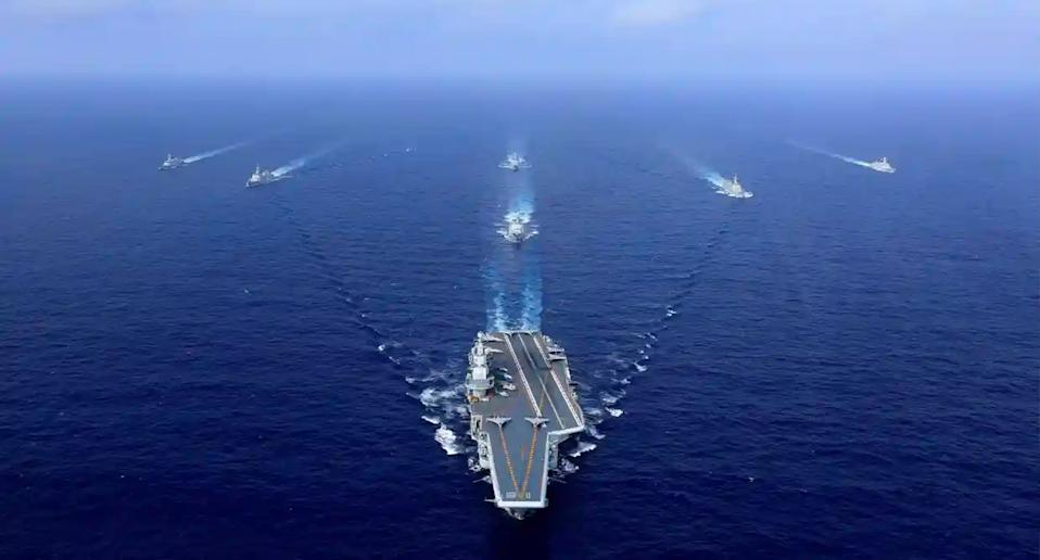 Chinese vessels carrying out a drill in the South China Sea.