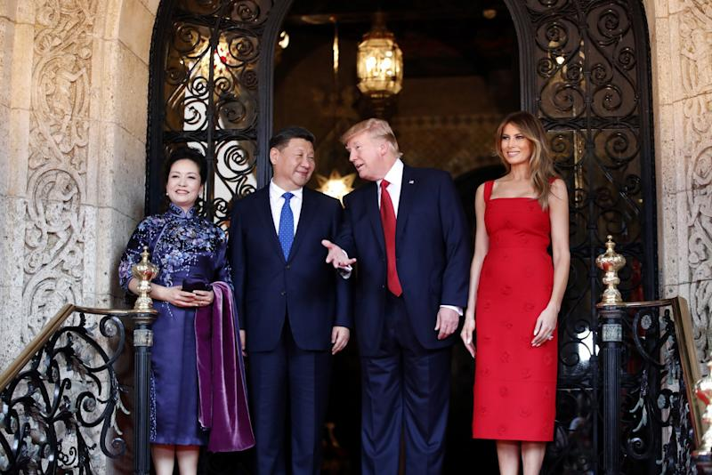 President Donald Trump and Chinese President Xi Jinping with their wives, first lady Melania Trump and Chinese first lady Peng Liyuan