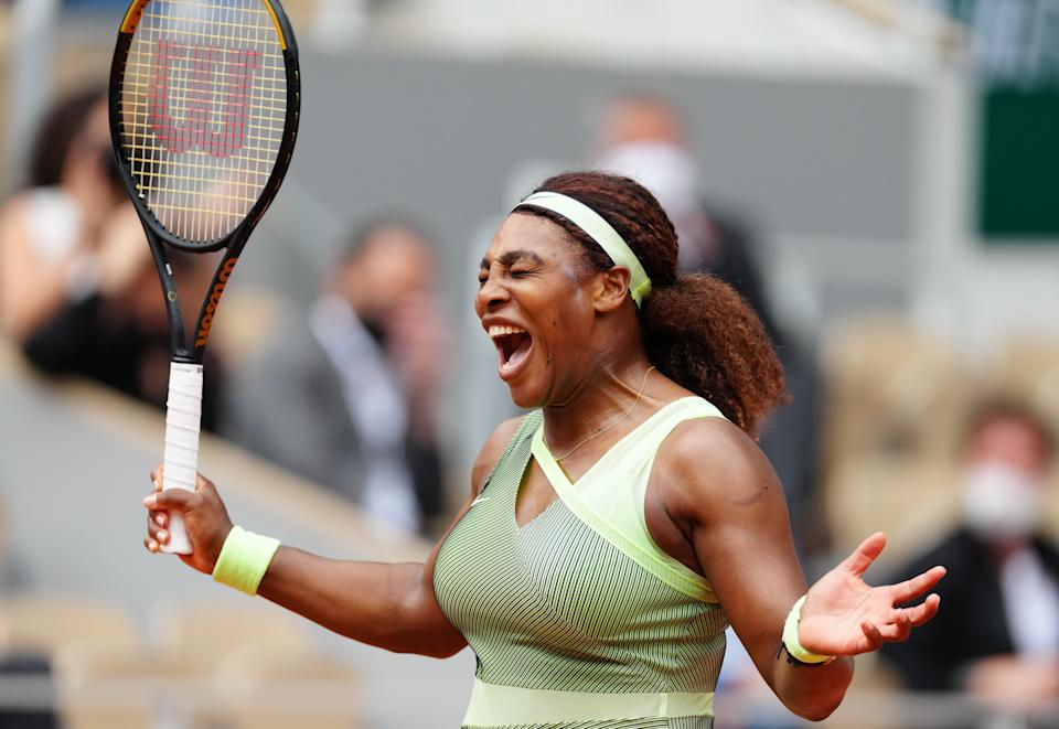 Serena Williams in victory. (Gao Jing/Xinhua via Getty Images)