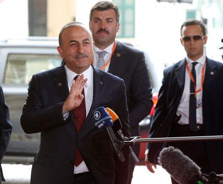 Turkey's Foreign Minister Mevlut Cavusoglu arrives for a meeting with European Union Foreign Ministers in Valletta, Malta April 28, 2017.  REUTERS/Darrin Zammit Lupi