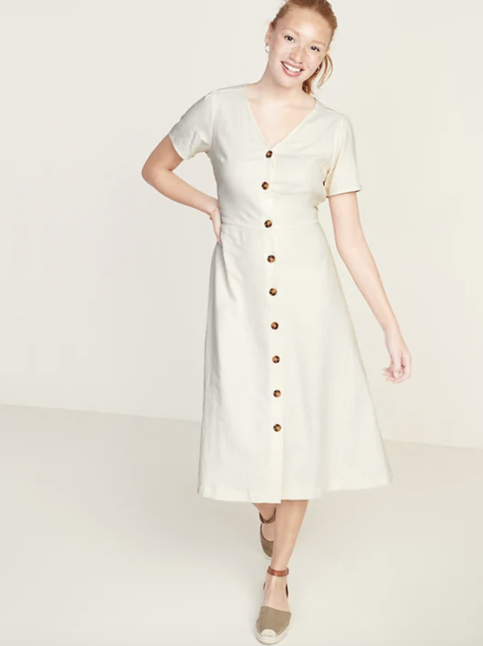 Fit & Flare Button-Front Linen-Blend Midi Dress (Credit: Old Navy)