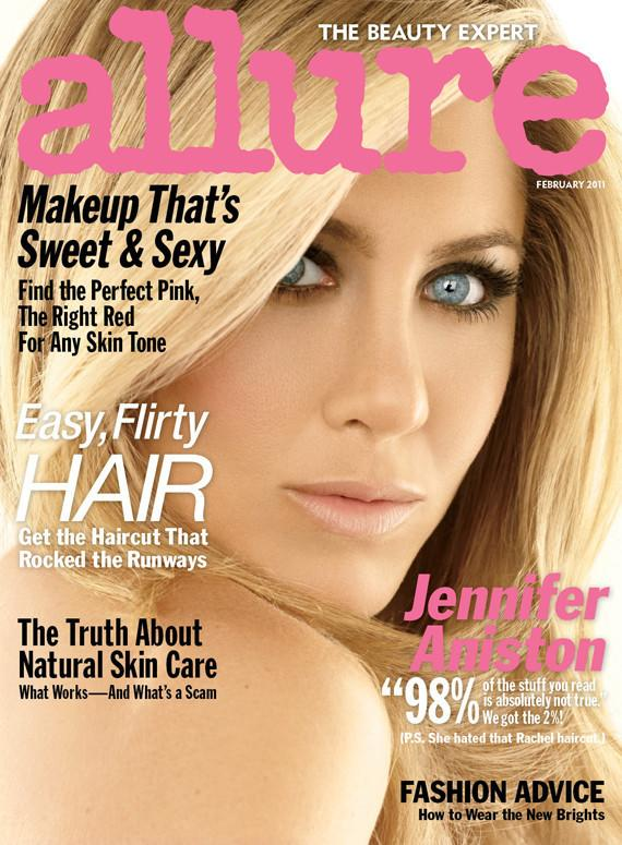"<div class=""caption-credit""> Photo by: Allure</div><div class=""caption-title""></div>America's sweetheart Jennifer Aniston looked unrecognizably…flattened on the February 2011 cover of Allure."