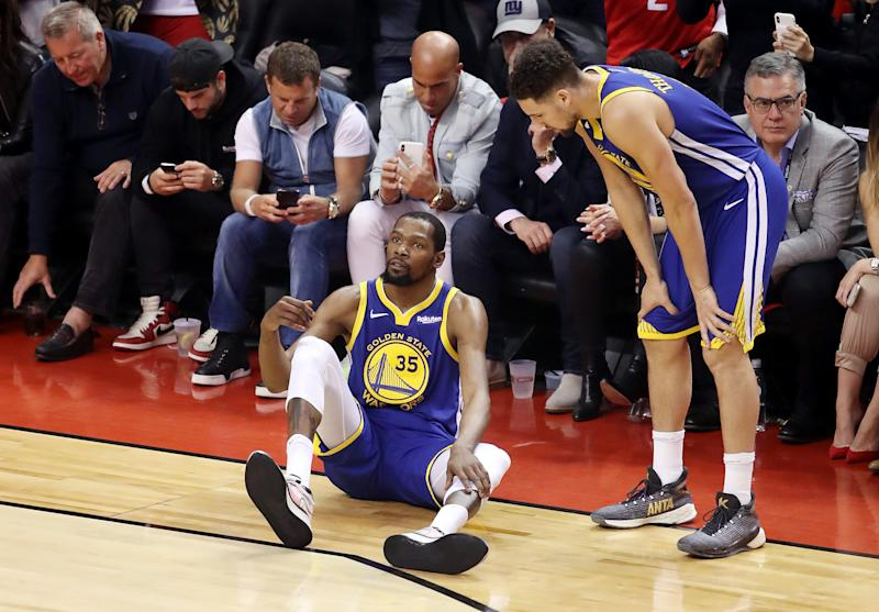 TORONTO, ONTARIO - JUNE 10: Kevin Durant #35 of the Golden State Warriors reacts against the Toronto Raptors in the first half during Game Five of the 2019 NBA Finals at Scotiabank Arena on June 10, 2019 in Toronto, Canada. NOTE TO USER: User expressly acknowledges and agrees that, by downloading and or using this photograph, User is consenting to the terms and conditions of the Getty Images License Agreement. (Photo by Claus Andersen/Getty Images)