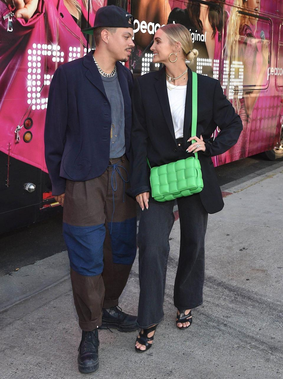 <p>Evan Ross and Ashlee Simpson stop by Peacock's <em>Girls5eva</em> karaoke bus in support of the show's Emmy 5YC campaign in L.A. on June 11.</p>