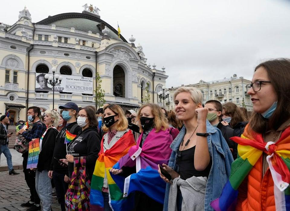 Ukraine Pride Parade (Copyright 2021 The Associated Press. All rights reserved.)