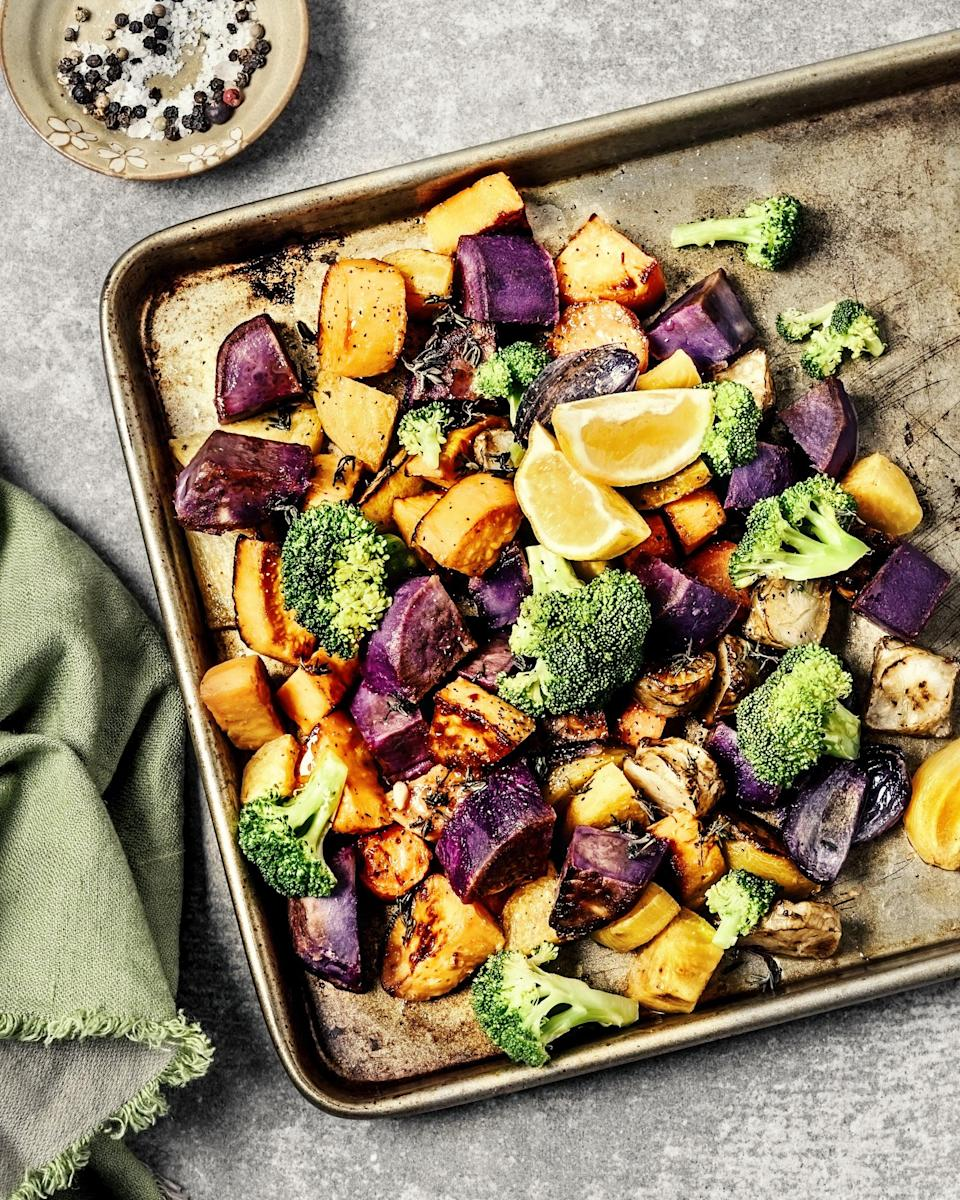 "<p>""I love to snack on oven-roasted vegetables,"" said registered dietitian-nutritionist <a href=""https://www.yourchoicenutrition.com/"" class=""link rapid-noclick-resp"" rel=""nofollow noopener"" target=""_blank"" data-ylk=""slk:Brittany Poulson"">Brittany Poulson</a>, ""anything from broccoli, cauliflower, and carrots to zucchini, bell peppers, and onions."" She roasts up a large batch ahead of time to snack on or serve as a side dish at mealtimes. ""The roasting process brings out the natural sweetness in the vegetables, making them a delicious and healthy option,"" Brittany told POPSUGAR.</p>"