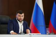 Head of the self-proclaimed Donetsk People's Republic Denis Pushilin attends a news conference in Donetsk